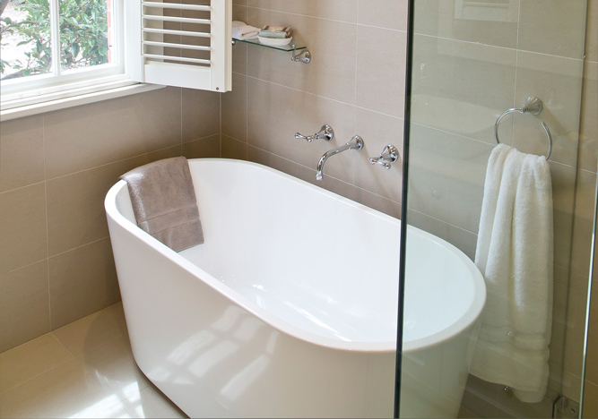 Bathroom renovation<br>cool, calm and collected