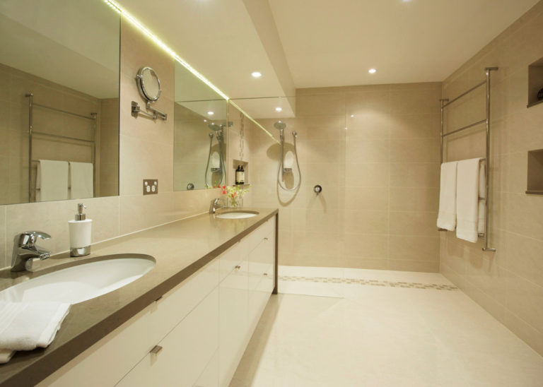 Bathroom renovation<br>dark and dingy to light and bright