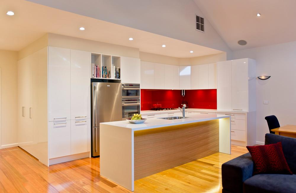 White Kitchen Red Splashback kitchen renovationfamily friendly | kitchen update