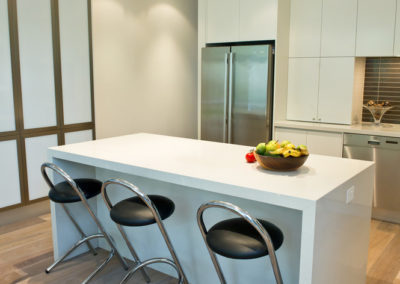white-two-pack-caesarstone-island-bench-waterfall-aluminium-frame-frosted-glass-pantry-doors-kitchen-update